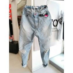 Jeans Displaj Talia Overfit Con Strappi